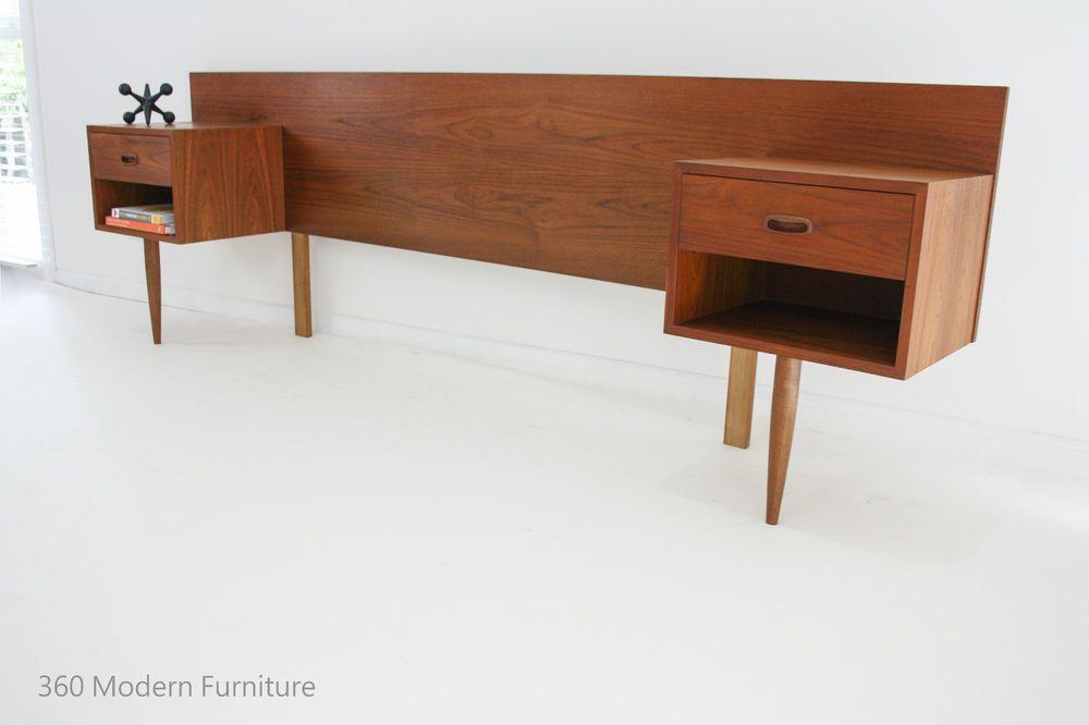 Mid Century Teak Bedside Tables Drawers Bedhead Retro Vintage Danish Scandi Era 360 Modern Furniture Furniture Australian Home Decor Teak Bedside Table