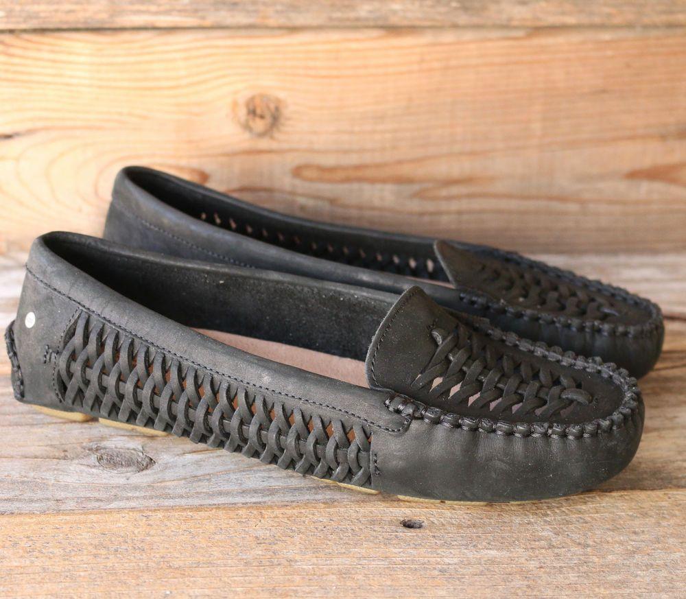 UGG Australia Womens Clary Black Leather Loafers Flats US 9 UK 7.5 EU 40 # UGGAustralia