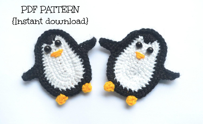 Crochet Pattern Penguin Applique Pattern Crochet Applique Pattern