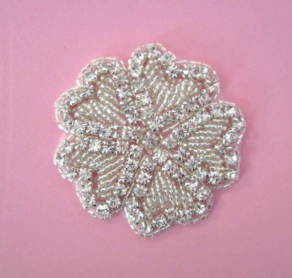 Rhinestone Flower Applique with Heart Shaped leaves ---1 pc ...