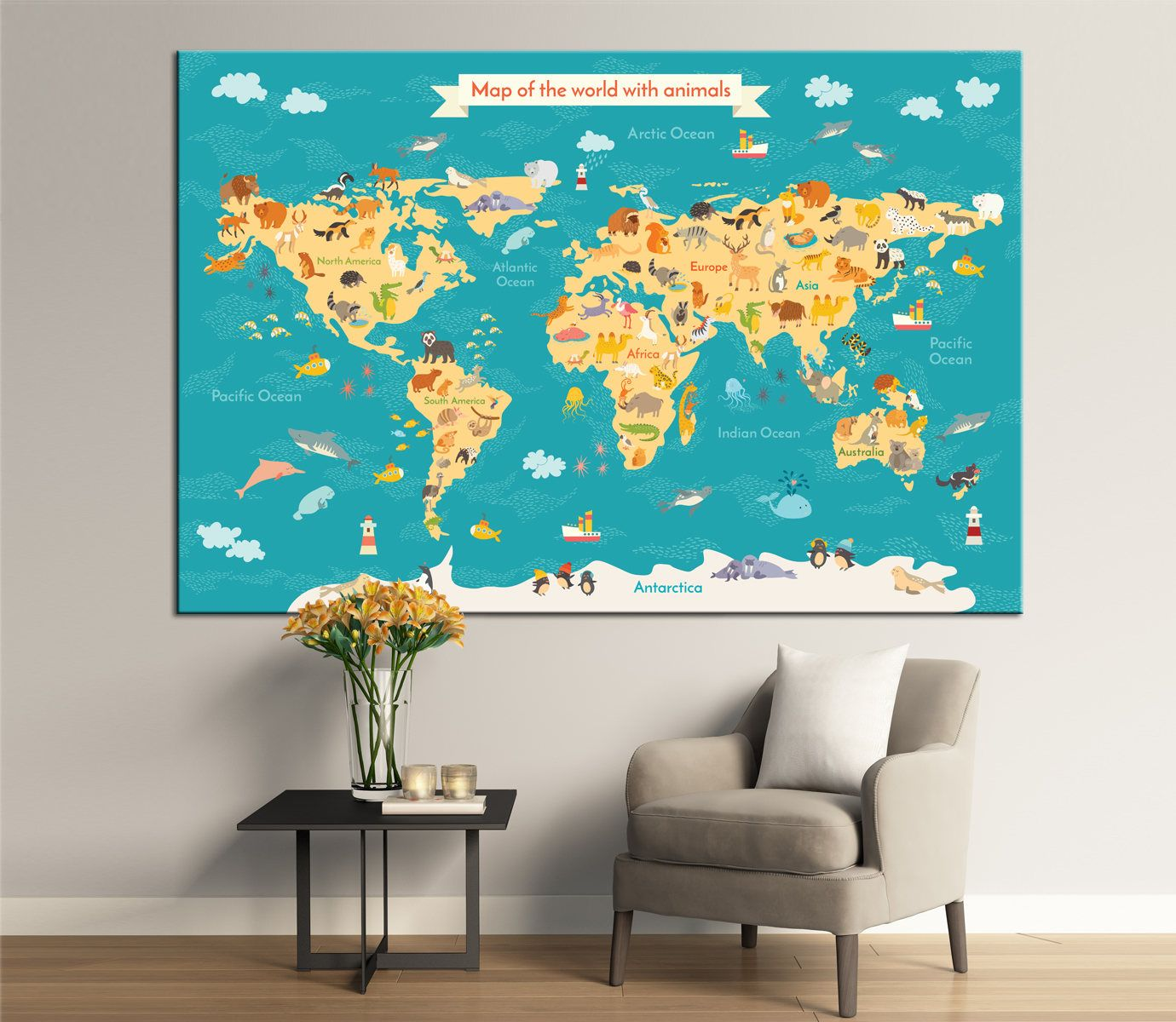 large world map for kids with wildlife animals and plants preschool cartoon globe with animals