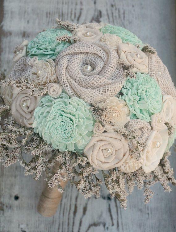 Rustic Mint Wedding Bouquet // Mint Green Bridal Bouquet, Mint ...