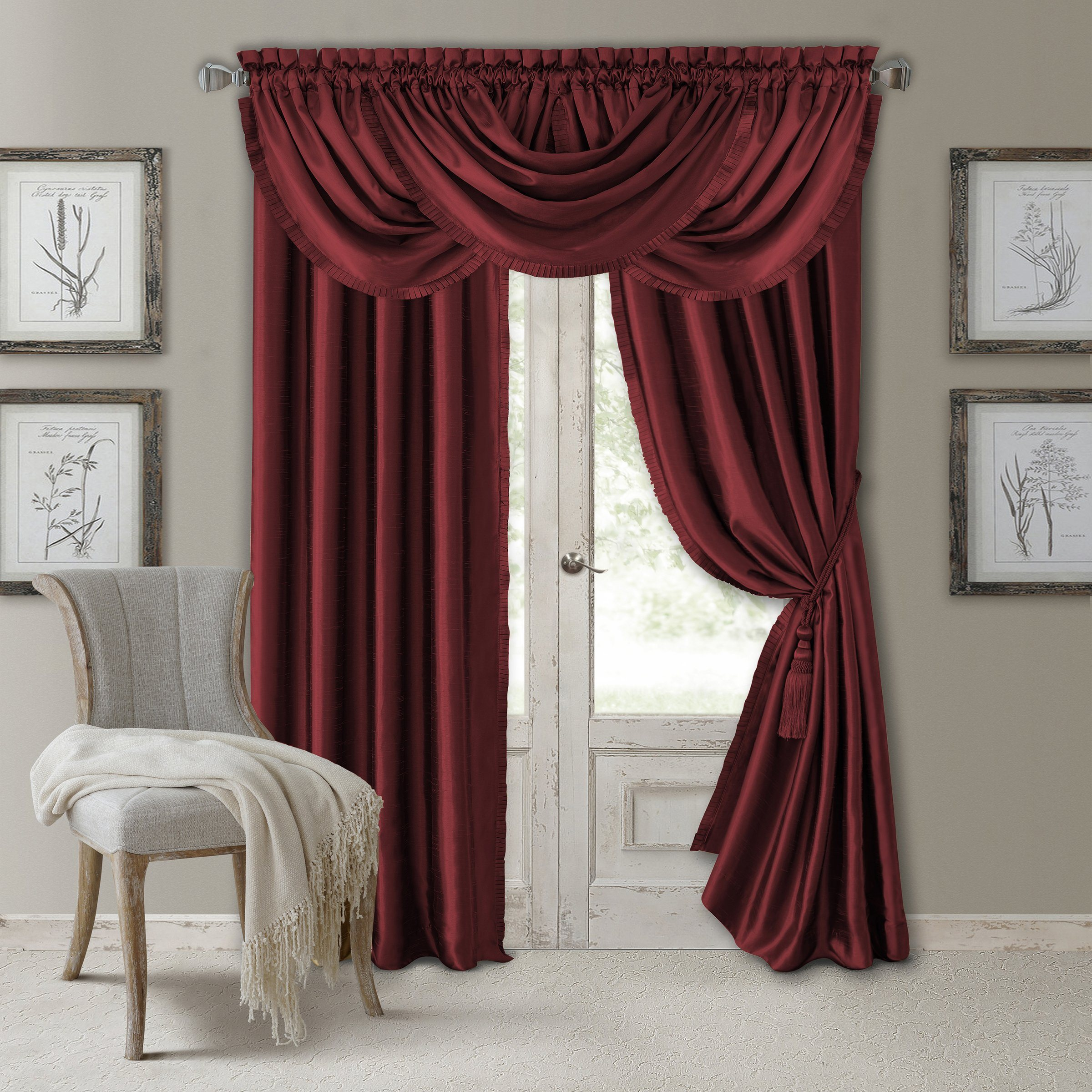 Versailles Rod Pocket Window Collection Curtains Panel Curtains