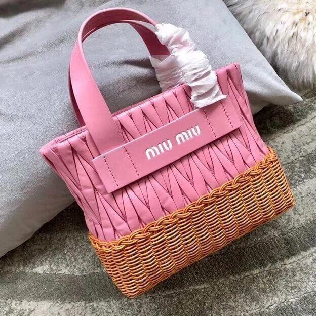 Miu Miu Nappa Leahter and Wicker Bag 5BA076 Pink 2018  MiuMiu   Miu ... f436a01fa8