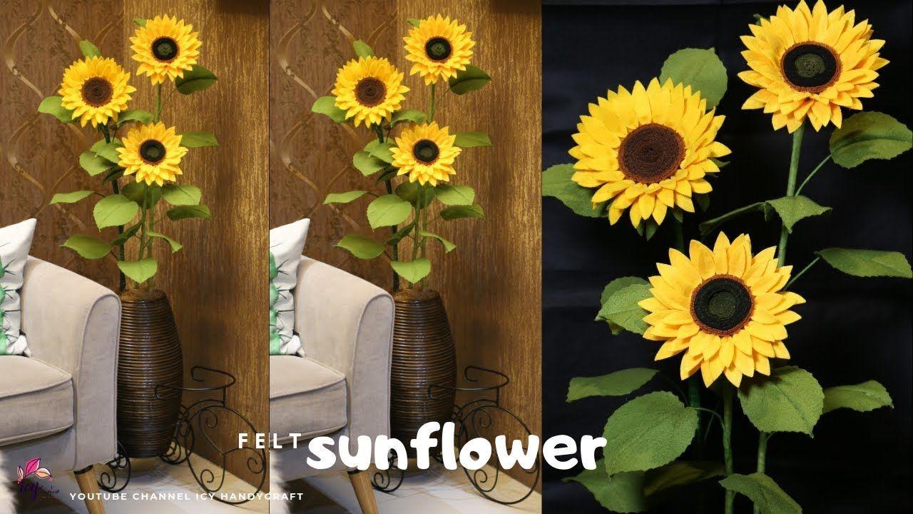 Diy Bunga Matahari Flanel How To Make Felt Sunflower I Diy Bunga