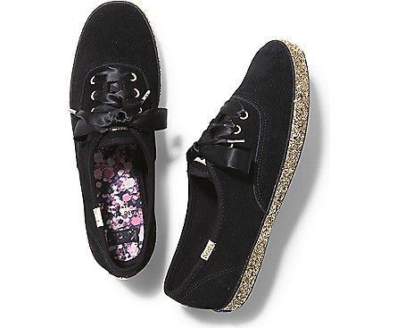 KEDS X kate spade new york CHAMPION GLITTER FOXING, Black Gold