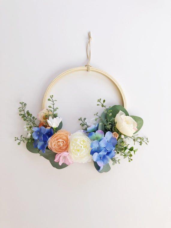 Photo of Modern spring wreath, modern spring wreath, pastel blues hoop, eucalyptus hoop, pastel blue nursery, embroidery wreath