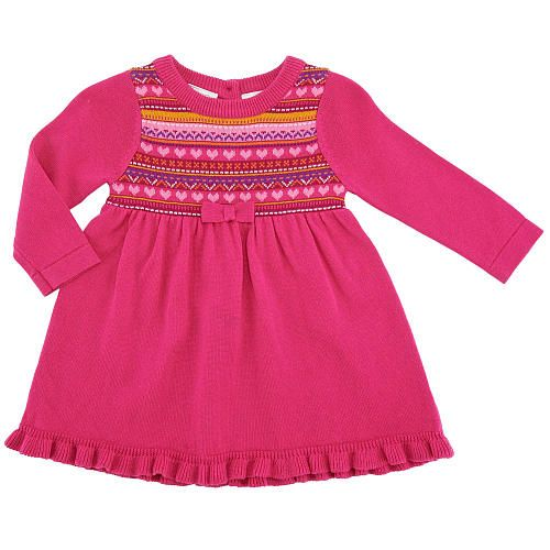 Koala Baby Girls' Pink Fair Isle Long Sleeve Sweater Dress ...