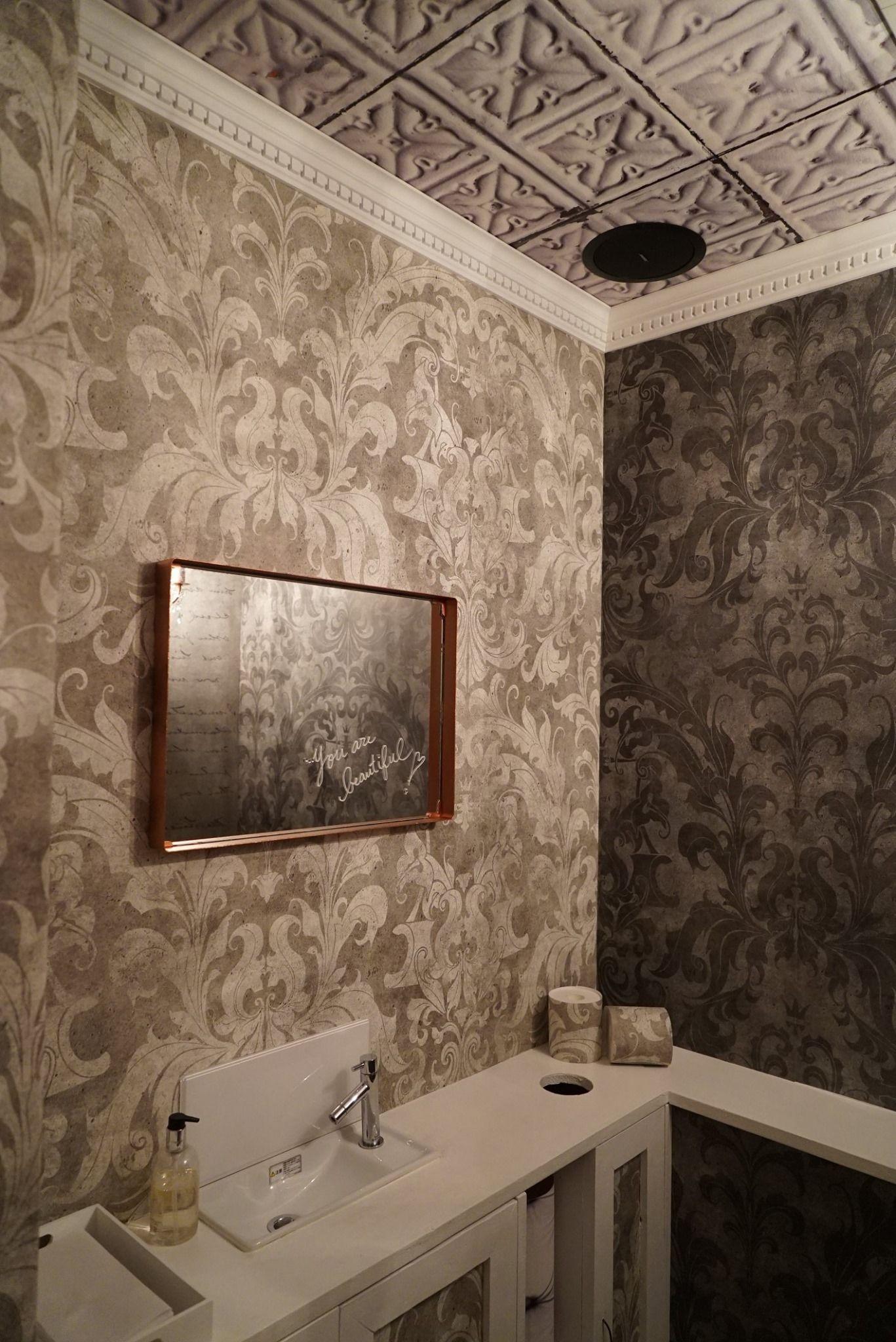 Dark Urban Concrete Damask Wallpaper Bathroom Design Inspiration
