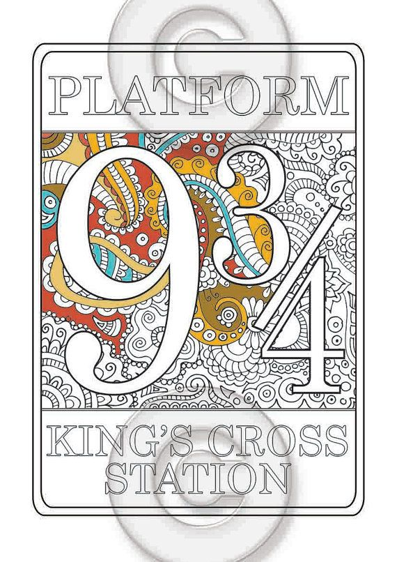 Platform 9 3 4 Harry Potter Coloring Page Adult Coloring Page