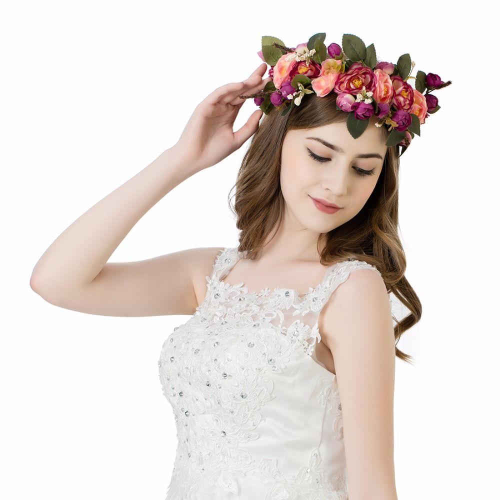 Bride Rose Flower Crown Garland Halo For Wedding Travel Festivals