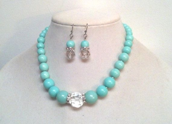Darling Beaded Turquoise Necklace and Earrings Set with Large