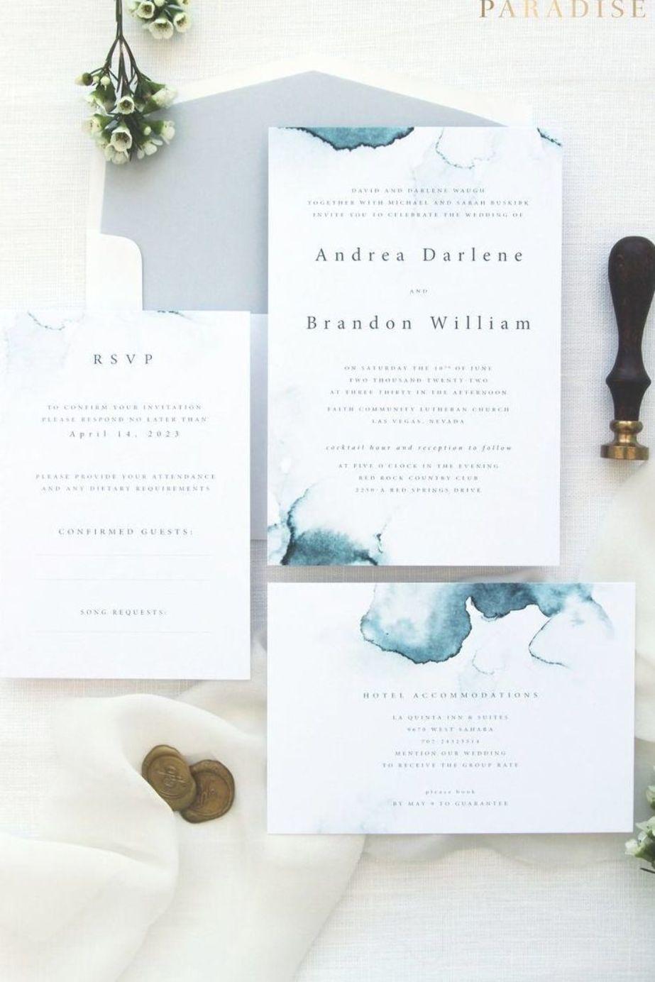 Zara Dusty Blue Watercolor Wedding Invitation Wedding Invitation Weddinginvitation E Wedding Stationery Trends Beach Wedding Invitations Wedding Stationery