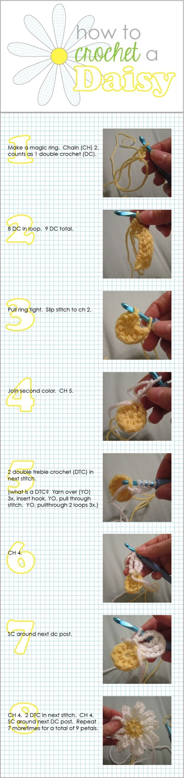 How to crochet a daisy by mavrica | Craftiness | Pinterest | Flores ...