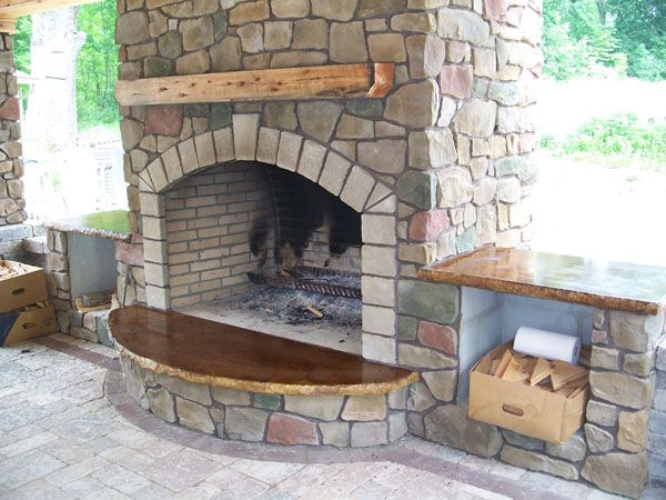 Fireplace hearths | concrete hearth fireplace with paver inlay ...