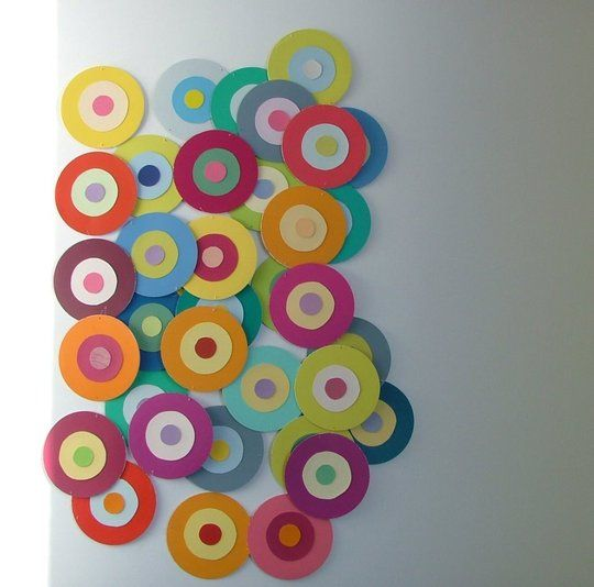 Colorful garlands using paintchips and fishing line original post from the blog butterfly also cheap wall art with paint chips crafts rh pinterest