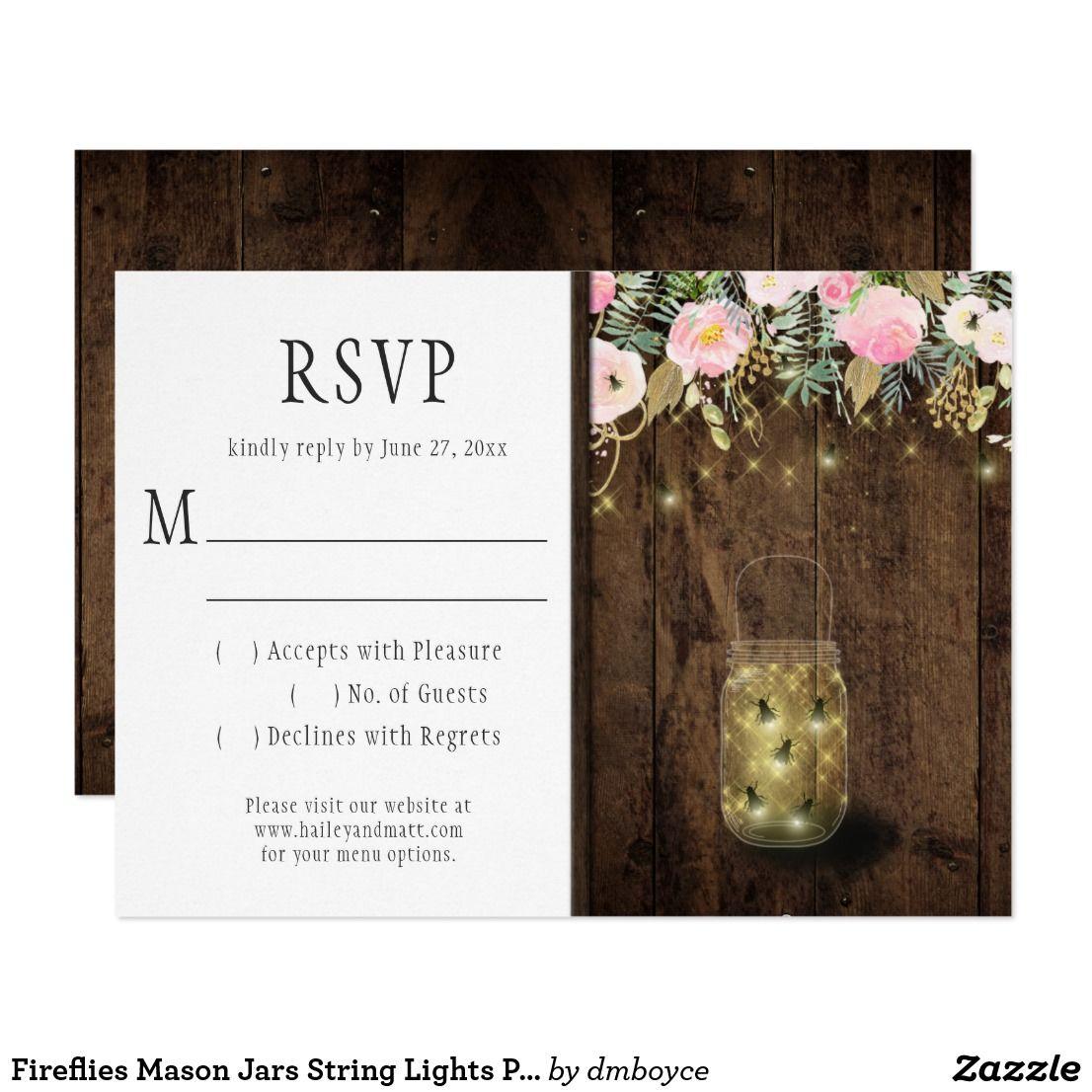 Fireflies Mason Jars String Lights Pink Gold RSVP Card | Watercolor ...