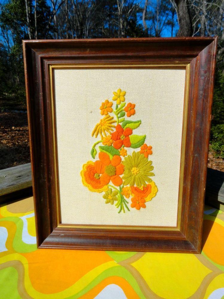 VTG 1970s Retro Orange Flower Power Kitschy Crewel Wall Art Framed MOD Groovy
