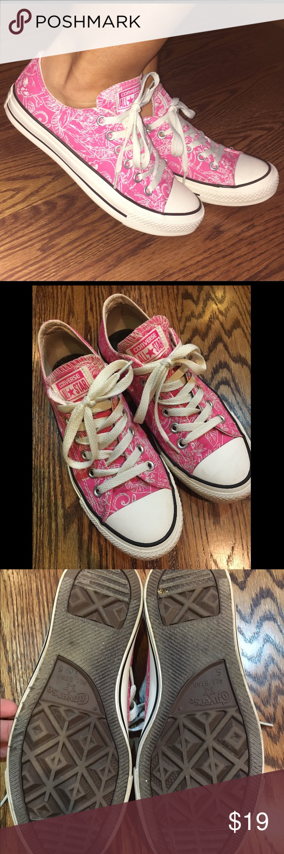 Jazzy Hot Pink Converse Women's 7 7.5 🎀 These are in great condition, I wore them a few times. What a fun color!! They run a little big...more like a 7.5. Priced to sell. I ship almost daily. 🎀📦📪 Converse Shoes Sneakers