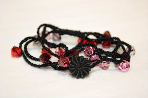Black Crystal Crochet Lace Bracelet/Anklet Handmade by catilla, $14.00