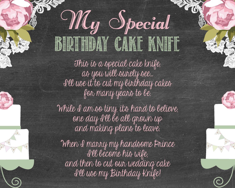 Shabby Chic Vintage Girly Baby Shower Birthday Cake Knife Poem Sign DIY Digital Chalkboard By BTheHostess