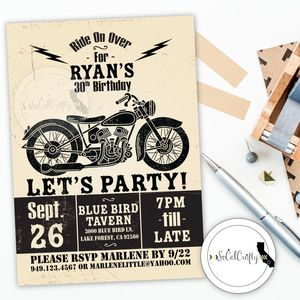Harley davidson birthday party invitation in black and white harley davidson birthday party invitation in black and white filmwisefo Image collections