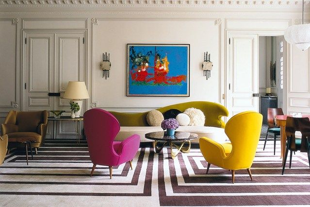 Graphic Rug - Living Room Design Ideas & Pictures - Decorating Ideas (houseandgarden.co.uk) blue painting