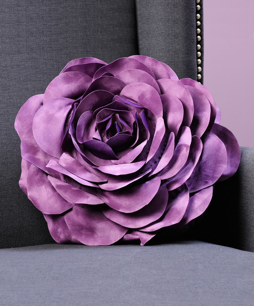 purple rose throw pillow zulily ungu