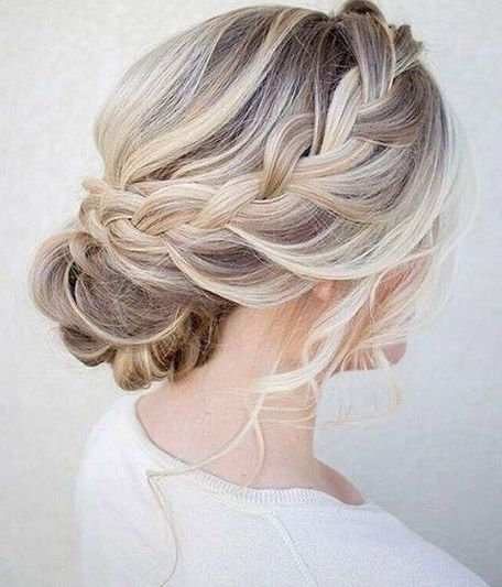 50 Amazing Updos For Medium Length Hair Braided Hairstyles Updo Romantic Wedding Hair Hair Lengths