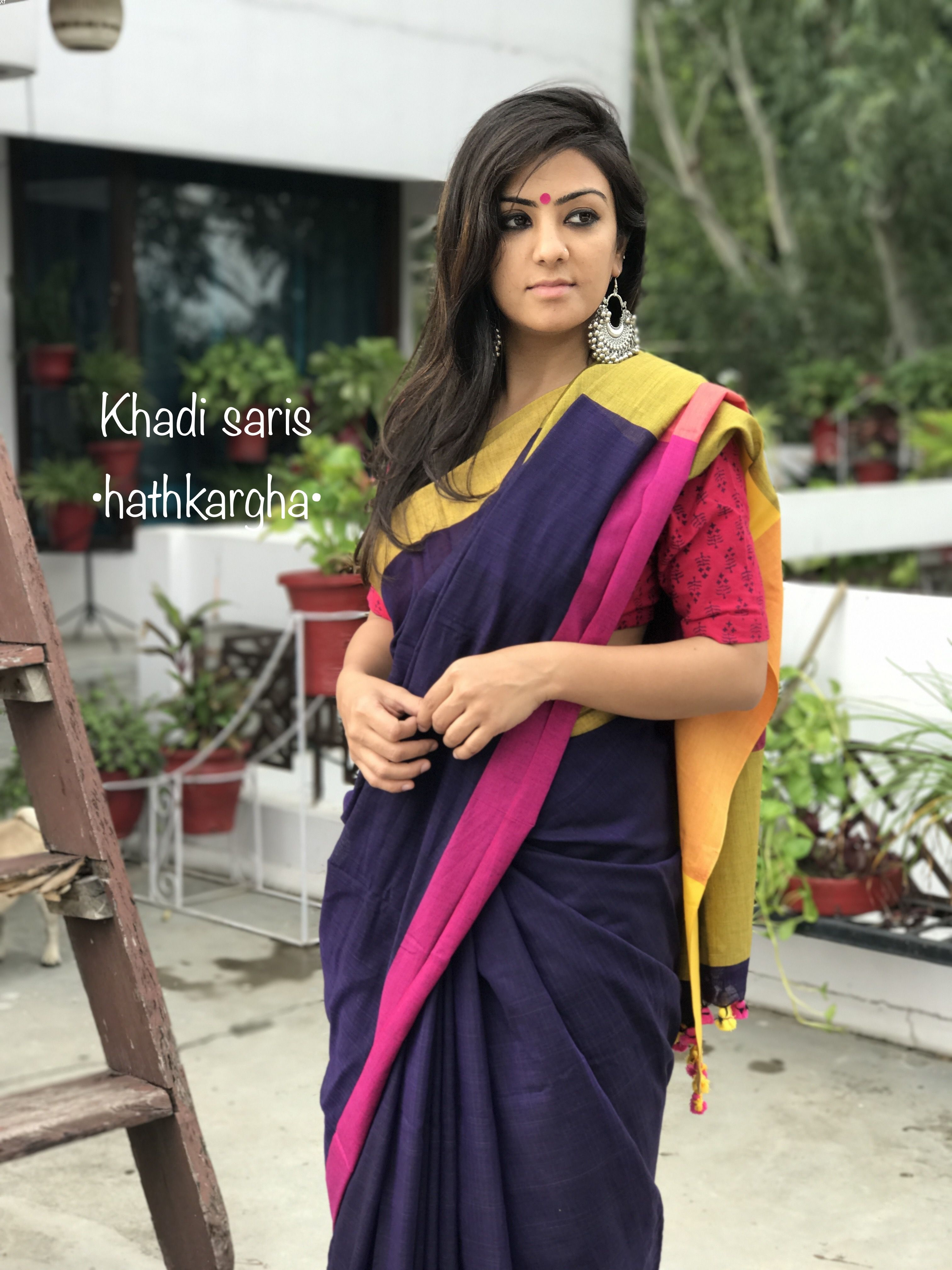 a50d8fb8fe Khadi cotton sari.. handloom love Saree Blouse Designs, Blouse Patterns, Formal  Saree