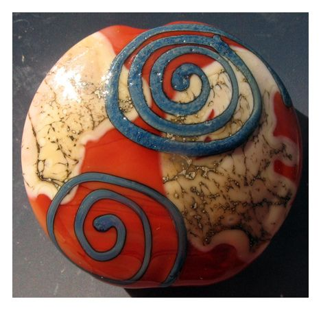 """Blue Spirals over Coral"" Teague's Beads"