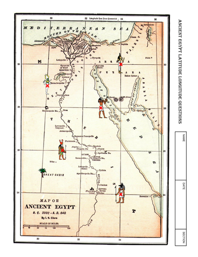 Worksheet ANCIENT EGYPT Latitude Longitude Questions  Map