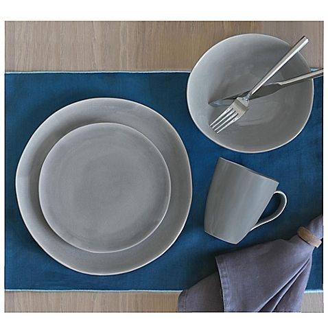 BAUM Baum Current 16-Piece Dinnerware Set in Grey | Dinnerware ...