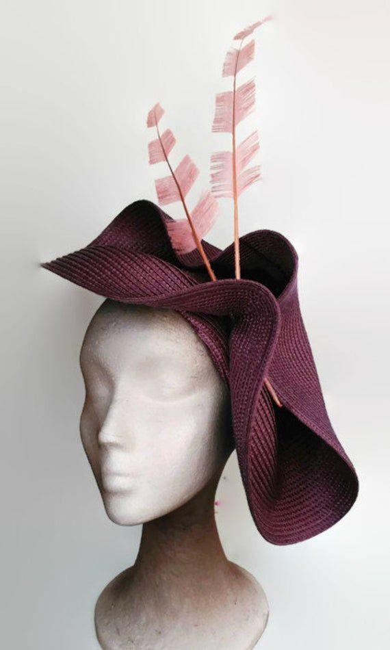 Pink and purple fascinator, purple hat ladies,Feathers wedding hat,Kentucky derby hats,Elegant hats,Women's hats magenta,Feather fascinator #fascinatorstyles