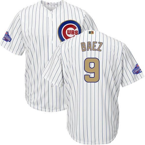info for e028a 868b3 Cubs #9 Javier Baez White(Blue Strip) 2017 Gold Program Cool ...
