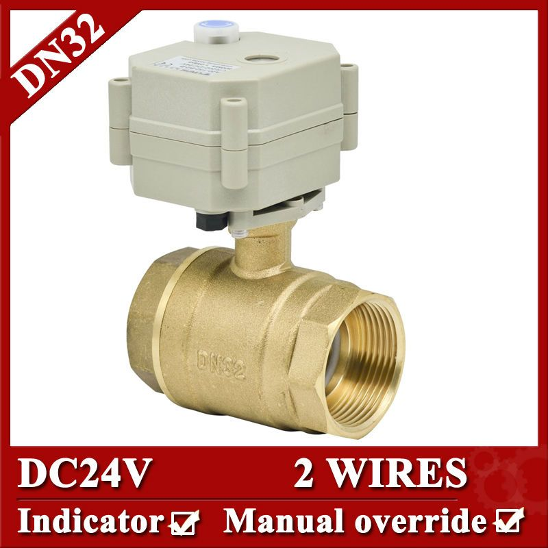 1 1 4 Dc24v 2 Wires Brass Actuator Ball Valve Dn32 Motorized Valve With Manual Override For Fan Coil With Images Electric Water Valve Heating Hvac Hvac Air