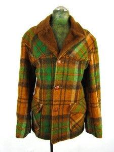fff25935279 vintage 70s men green plaid PIONEER WEAR heavy wool western jacket ...