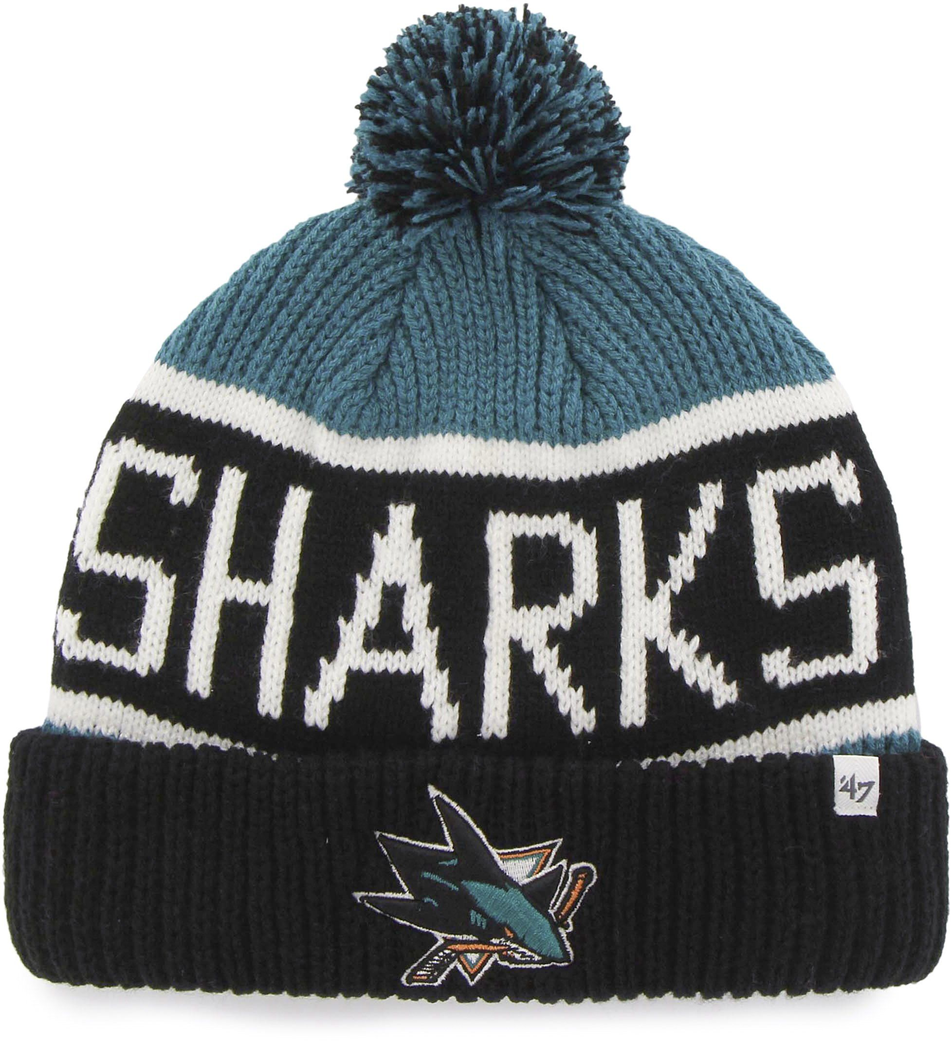 db564c6e3c2 San Jose Sharks 47 Brand Calgary Cuff Knit NHL Bobble Hat – lovemycap