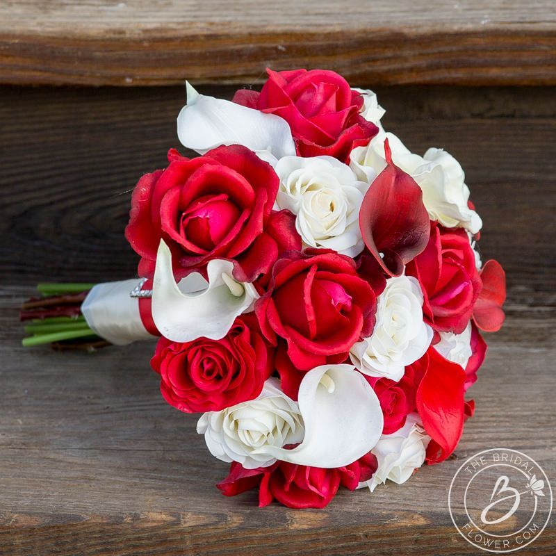 Red and ivory real touch flowers wedding bouquet – Real touch ...