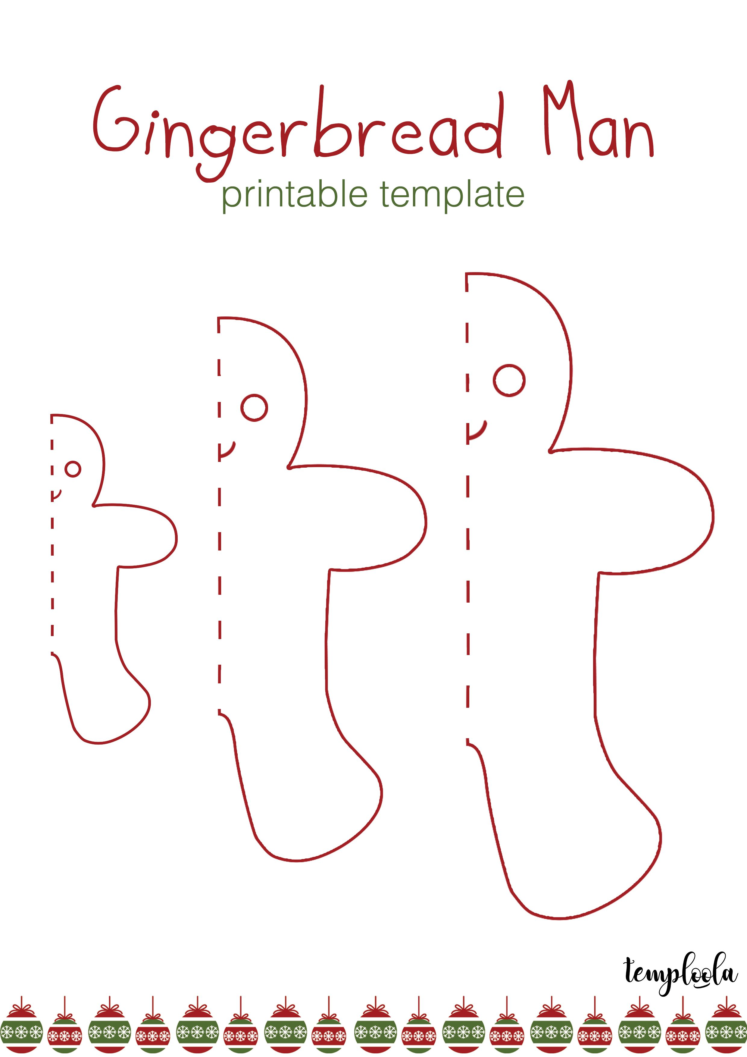 Gingerbread Man Template Christmas Red And Green