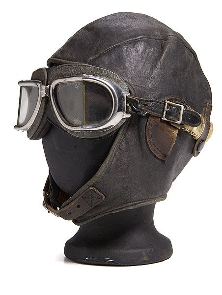 36171ad4f Pre-WWII Commercial Leather Aviator's Cap and Goggles, - Cowan's ...