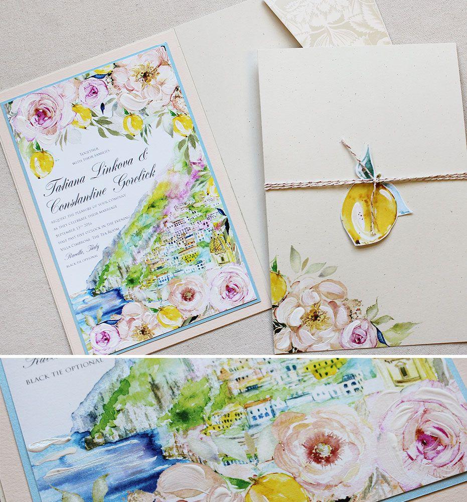 Tatiana L Watercolor Amalfi Wedding Invitations Italian wedding