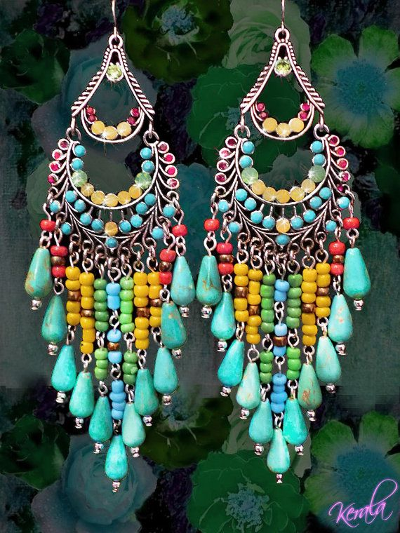 Long colorful beaded chandelier earrings large exotic jewelry long colorful beaded chandelier earrings large exotic jewelry turquoise and bronze ethnic african bohemian mto aloadofball Gallery