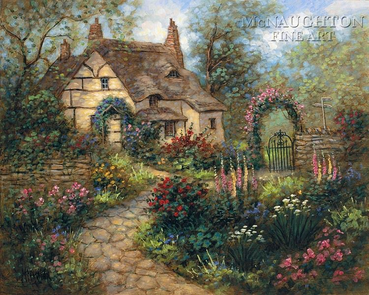 Beautiful English Flower Garden cottage garden 11 x 14 le signed & numbered - giclee canvas