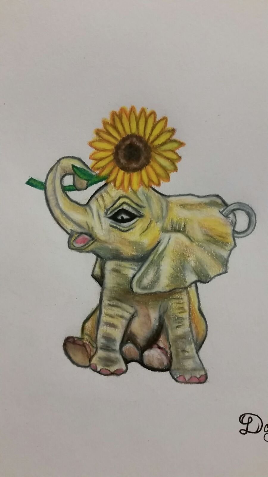 Original Drawing In Glass Frame 5x7in Baby Elephant Holding