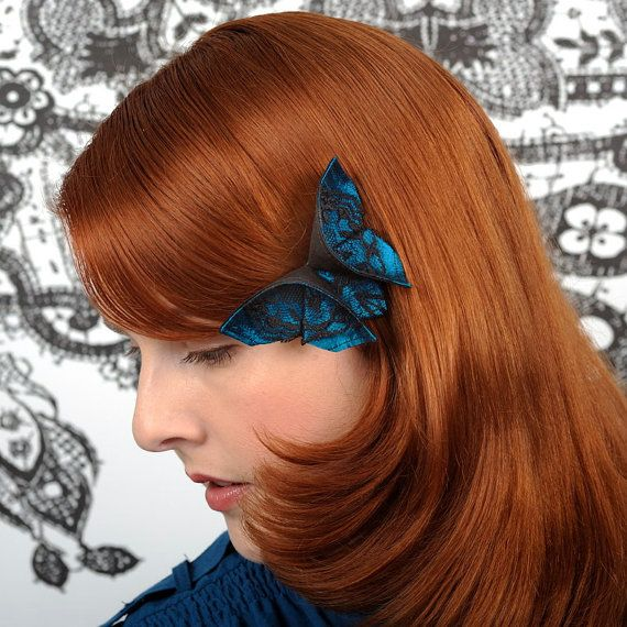 Butterfly Hair Clip Blue and Black Lace Silk Origami Butterfly Gift Fascinator Black and Aquamarine Silks LARGE SIZE femanine