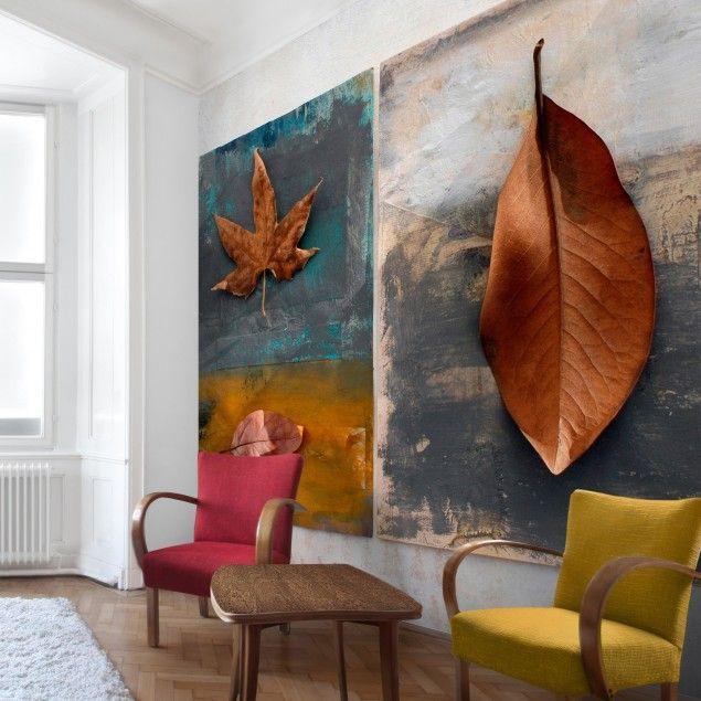 Fototapete Blumen - Leaves Stilllife - Vliestapete Quadrat Wand - fototapete für schlafzimmer