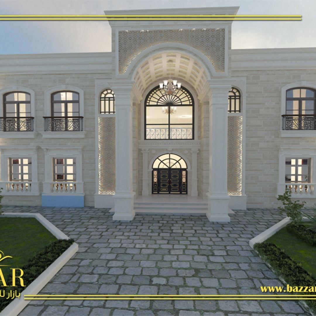 تصميم واجهه علي طراز نيوكلاسيك باللون الابيض تصميم فخم وانيق تصميم واجهات تصميم داخلي تصميم خارجي Ksa Interiordesign House Styles Exterior Design Design