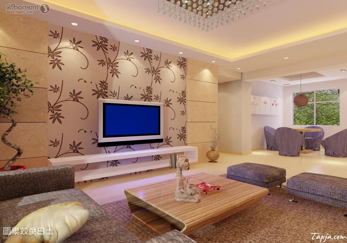 Interior Decor Using Wallpaper : Wallpaper living room tv homebase
