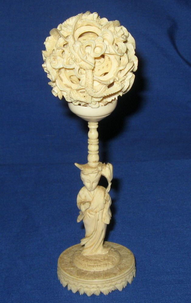 1 Day Auction Antique 19thc Chinese Hand Reticulated Carved Dragon Ivory Puzzle Ball On Figural Stand Carving Cow Bones Hand Carved